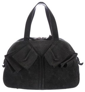 Saint Laurent Nubuck Obi Bow Bag - GREY - STYLE