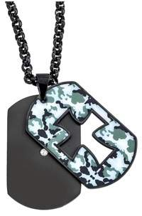 Armani Exchange Jewelry Mens Camoflague Cut-out Cross Dog Tag Pendant.