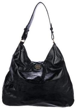 Tory Burch Leather Logo Hobo - BLACK - STYLE