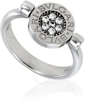 Bvlgari 18K White Gold Diamond Pave Onyx Ring Size 8.25.