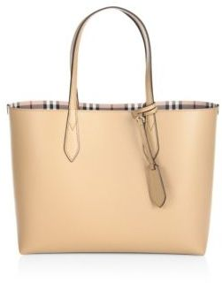 Burberry Medium Reversible Leather & Haymarket Check Tote - CAMEL - STYLE