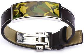 JCPenney FINE JEWELRY Inox Jewelry Mens Brown Leather & Camouflage Bracelet