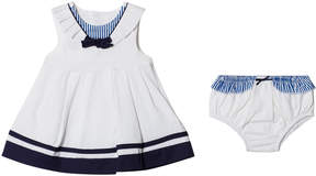Mayoral White and Navy Sailor Dress with Bloomers