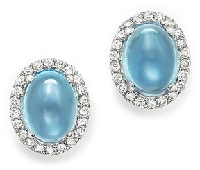 Bloomingdale's Blue Topaz Cabochon and Diamond Earrings in 14K White Gold - 100% Exclusive