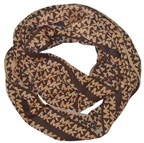 Michael Kors Signature Stripe Infinity Scarf Chocolate Camel