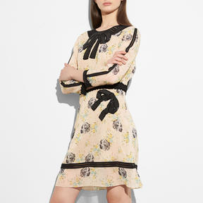 COACH EMBROIDERED PRAIRIE DOG ROSE DRESS - PALE PINK MULTI