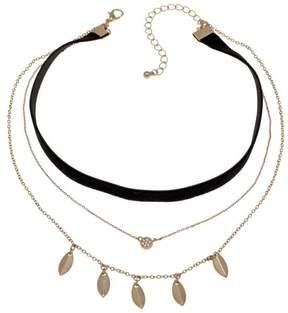 Danielle Nicole Momiji Black and Goldtone Triple-Layer Choker Necklace