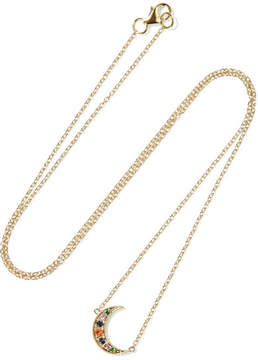 Andrea Fohrman Mini Crescent 14-karat Gold, Emerald And Sapphire Necklace