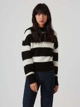 Frank and Oak Striped Mohair-Wool-Blend Sweater in True Black