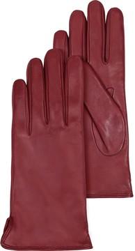 Forzieri Burgundy Leather Women's Gloves w/Cashmere Lining