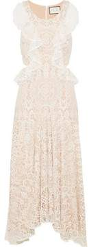 Alexis Cutout Ruffle-Trimmed Corded Lace Midi Dress