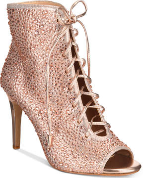 INC International Concepts Rikelie Evening Peep-Toe Lace-Up Booties, Created for Macy's Women's Shoes