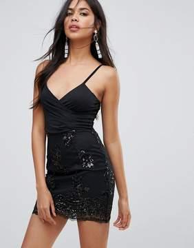 AX Paris Cami Dress With Chiffon Skirt And Sequin Trim