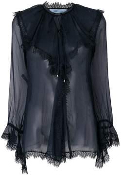 Blumarine ruffled neck blouse