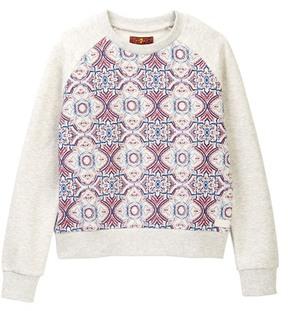 7 For All Mankind Printed Pop Over Sweatshirt (Big Girls)