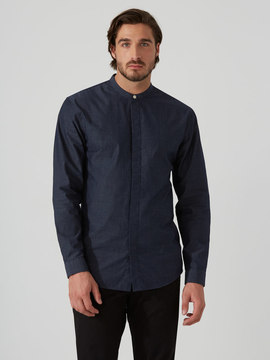 Frank and Oak Long-Tail Band Collar Shirt in Navy