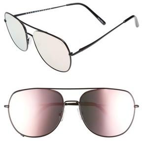 Quay Women's Living Large 60Mm Mirrored Aviator Sunglasses - Black/ Pink