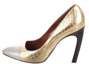 Dries Van Noten Embossed Cap-Toe Pumps