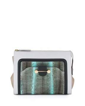 Jason Wu Daphne Watersnake & Leather Clutch Bag, Glass