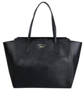 Gucci Swing Black Leather Tote Bag W/trademark Logo. - BLACK - STYLE