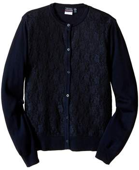 Nautica Lace Front Cardigan Girl's Sweater