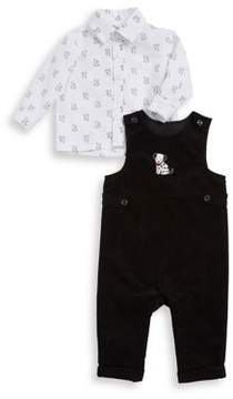 Little Me Baby Boy's Two-Piece Cotton Coverall and Dog Collared Shirt Set