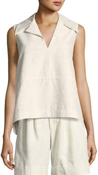 Co Sleeveless Notch-Collar A-Line Top