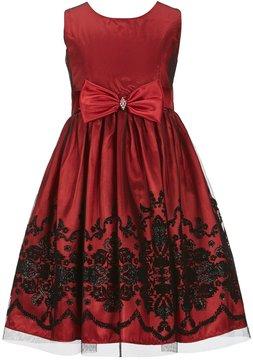 Jayne Copeland Big Girls 7-12 Solid/Flocked Overlay A-Line Dress