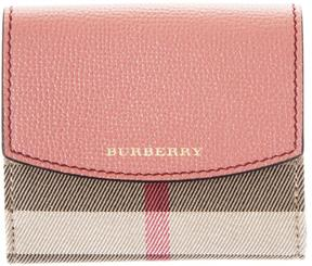 Burberry Leather & House Check Fabric Wallet - RED - STYLE