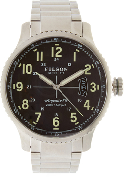 Filson Mackinaw Field 3HD Stainless Steel Green Dial Watch, 43mm