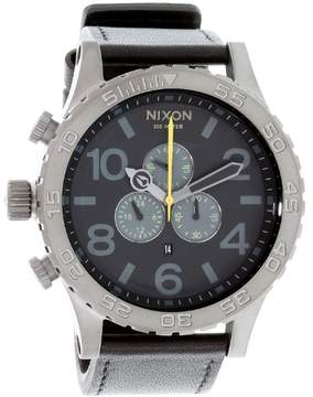Nixon Stainless Steel Case Black Dial Leather Strap Men's Watch A124680