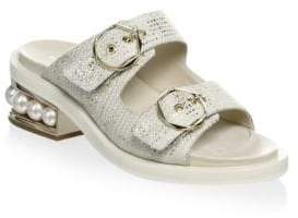 Nicholas Kirkwood Casati Pearl Leather Two-Strap Sandals