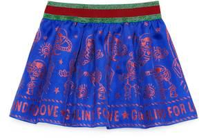 Gucci Baby glitter rocket cat silk skirt