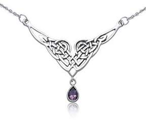 Celtic Bling Jewelry Knot Amethyst Teardrop Pendant Sterling Silver Station Necklace 16 Inches.