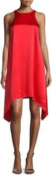 Aidan Mattox Sleeveless Jewel-Neck Trapeze Dress, Red