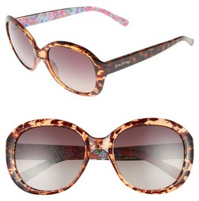 Lilly Pulitzer Women's Magnolia 57Mm Polarized Round Sunglasses - Havana