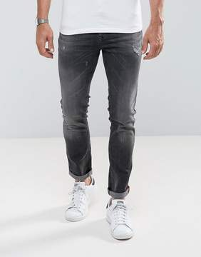 Benetton Jeans In Skinny Fit With Rip And Repair