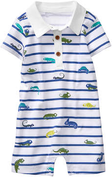 Gymboree Sea Blue Stripe & White Lizards Romper - Newborn & Infant