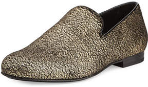 Jimmy Choo Sloane Metallic Textured Fabric Slipper, Gold
