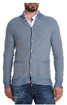 H953 Men's Light Blue Wool Cardigan.