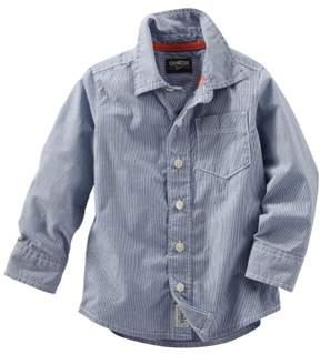 Carter's OshKosh B'gosh Little Boys Horizontal Stripe Button-Front Shirt Blue 2T