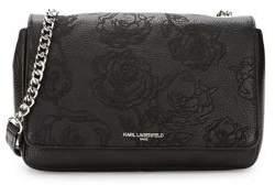 Karl Lagerfeld Paris Embossed Floral Leather Shoulder Bag
