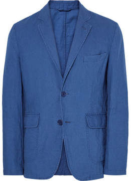 Aspesi Blue Slim-Fit Unstructured Cotton And Linen-Blend Blazer