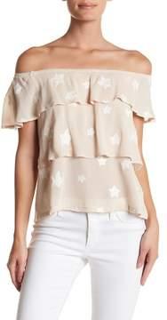 Dee Elly Short Sleeve Star Print Blouse