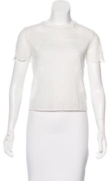 Band Of Outsiders Lace-Accented Short Sleeve Top