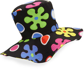Moschino Floral Floppy Top Hat, Black