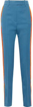 Calvin Klein Striped Wool-twill Straight-leg Pants - Blue