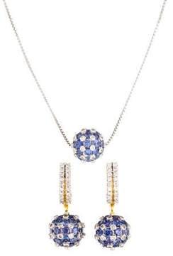 Amrapali 18K Diamond & Tanzanite Sphere Necklace & Earring Set