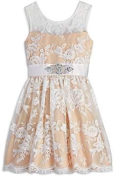 Us Angels Girls' Floral Lace Dress - Big Kid