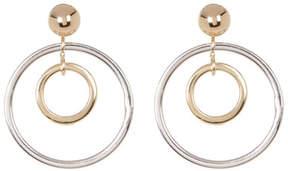 Candela 14K Two-Tone Gold Double Hoop Dangle Earrings